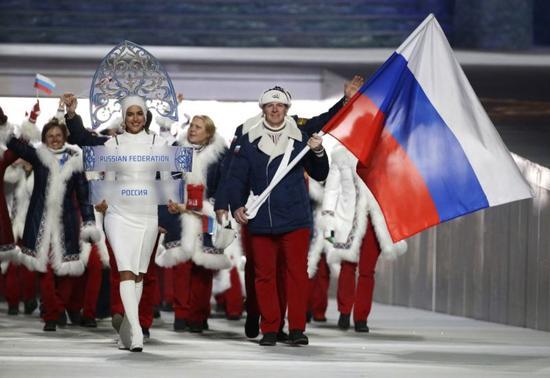 图为索契冬奥会上的俄罗斯冬奥团。