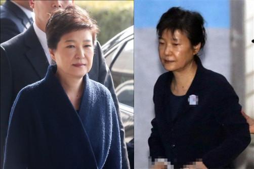 朴槿惠被捕前后(左:2017.3.21右:2017.7.7)