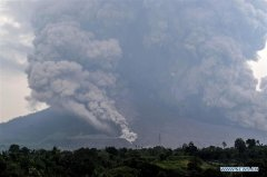 Mount Sinabung volcano spews volcanic ash in Indonesia