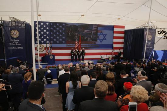 图为14日美国驻以新使馆举行开馆仪式。(美联社)