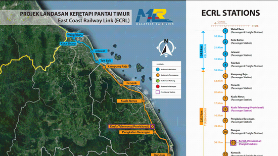 马来西亚东海岸铁路计划的拟议路线 图自马媒