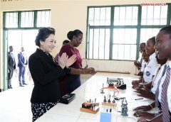 Chinese first lady visits girls' school in Rwanda