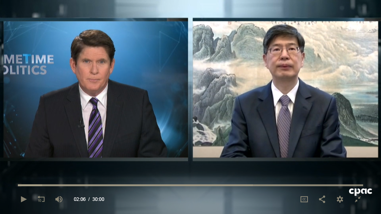 Ambassador Cong Peiwu Gives a Live Interview to CPAC on the Xinjiang-related motion of the House of C