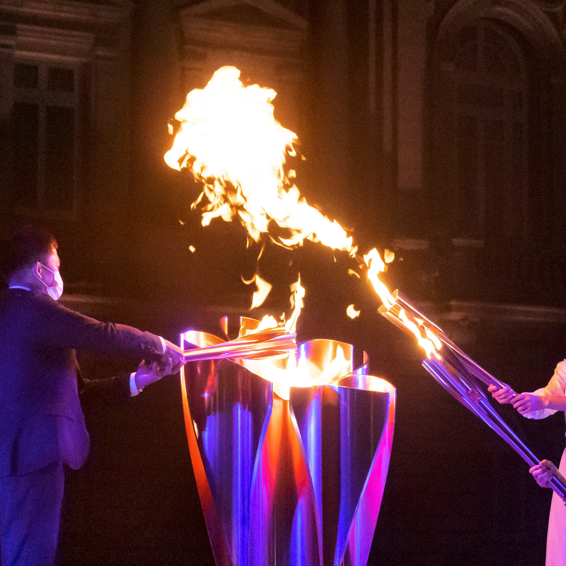Organizers light the Tokyo Paralympic flames ahead of the Opening Ceremony